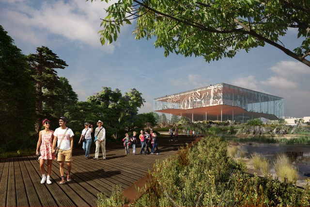 Surrounded by Pleistocene flora, a series of boardwalks connect all activities in the park and lead people curiously up towards the new, open foyer in the Page Museum.