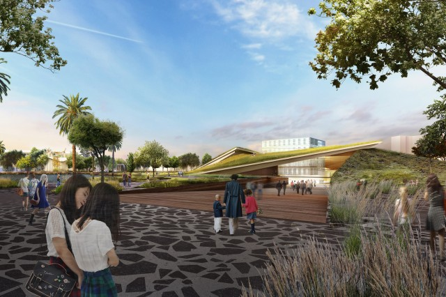 A New Arrival Plaza at the Corner of Wilshire & Curson welcomes visitors to the Tar Pits and extends into a ramped museum forecourt, descending 12 feet and 20,000 years in the past.