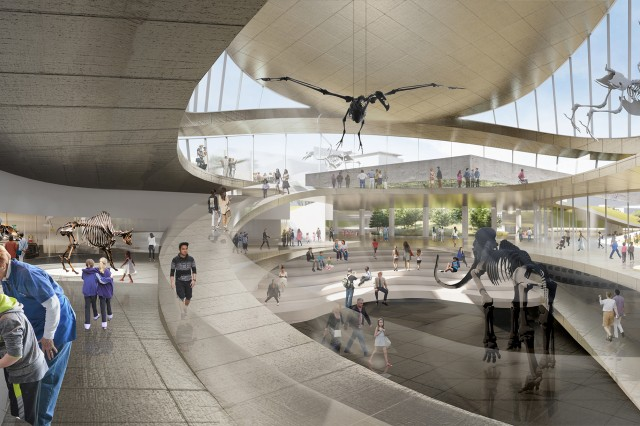 Panoramic labs flank the exhibition pit, encouraging dialogue between the past and present.