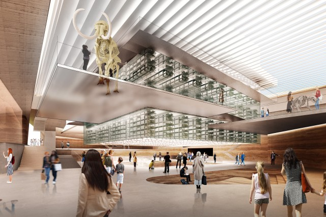 "The reimagined Page Museum lobby is anchored by a hovering ""Archive Block,"" a glass enclosed repository for the museum's collection and surrounded by public circulation and an ascending circuit of exhibition galleries."