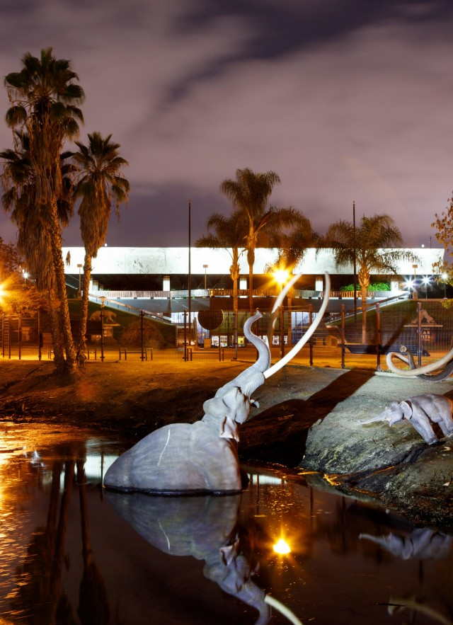 Tar Pits with Lake Pit shot evening dusk night