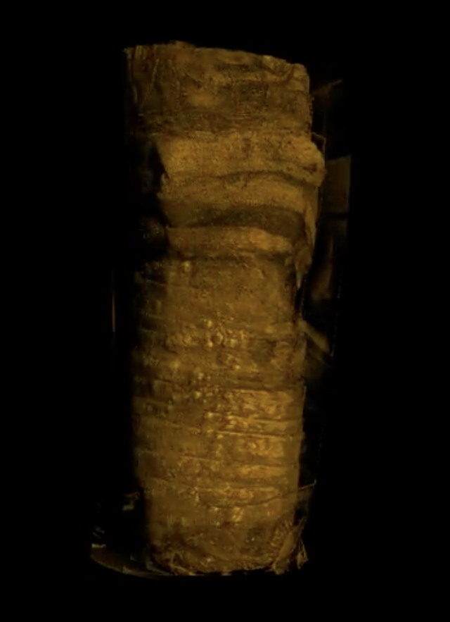 Still image of CAT scan of a mummified cat