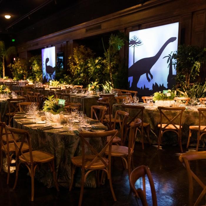 tables set-up at dinosaur ball NHM dino ball event