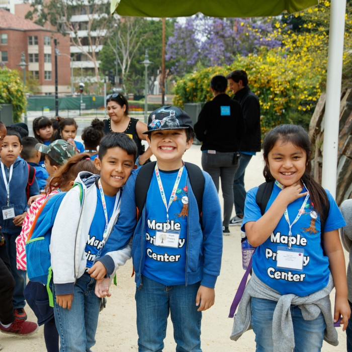 school group kids on field trip in nature gardens north entrance