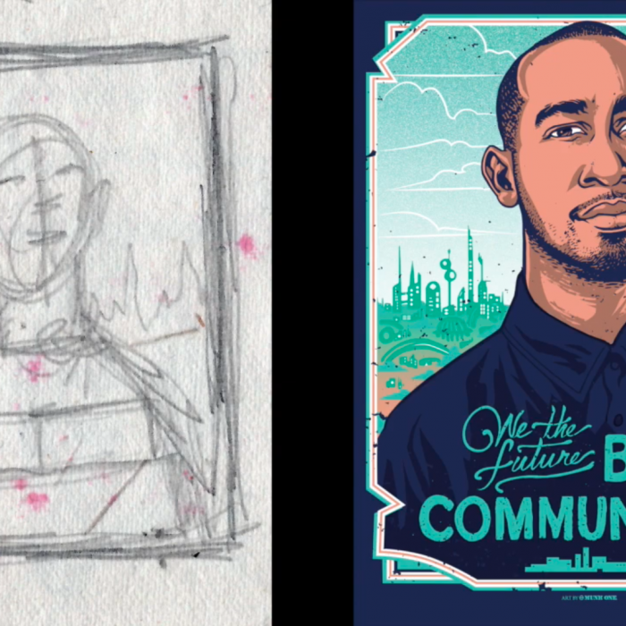 Thumbnail sketch and complete poster for art activity