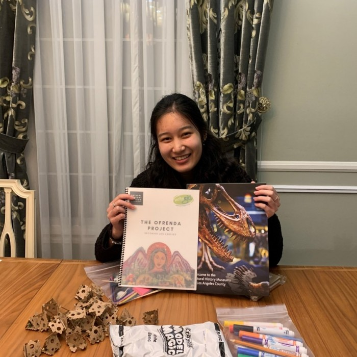 Audrey with her ofrenda story kit