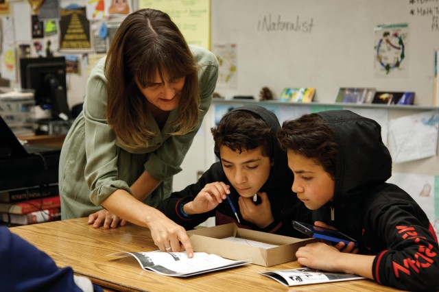 teacher with students classroom teacher resources