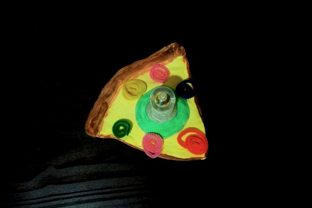 pizza with light made of clay