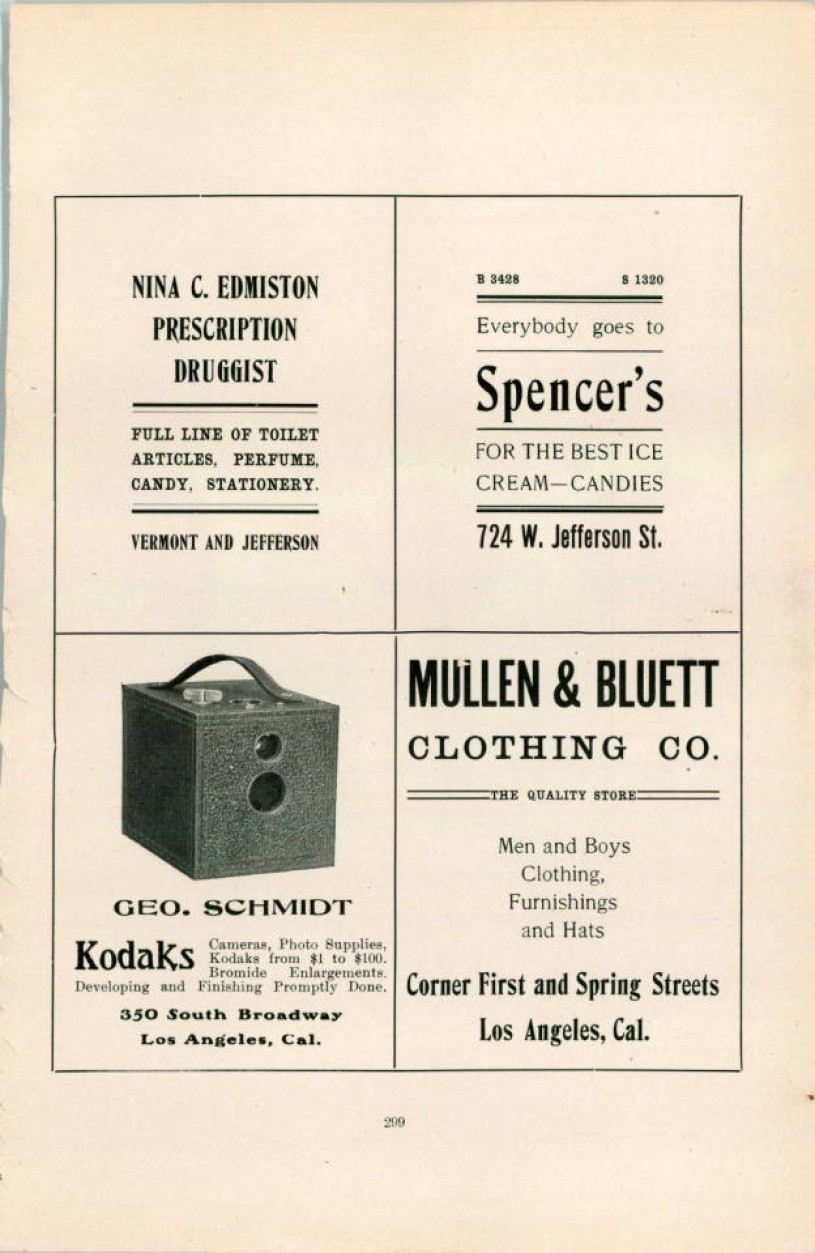 Advertisement for Nina C Edmiston Pharmacy on a catalogue page