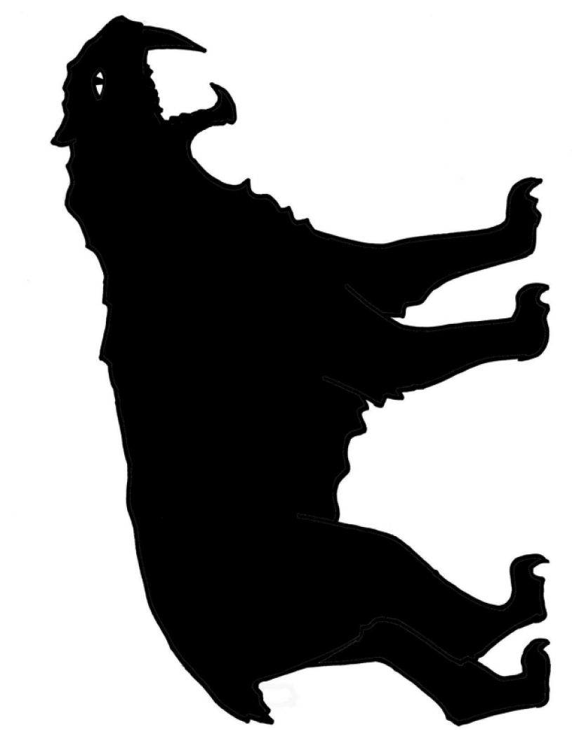Full-body template of saber-toothed cat shadow puppet