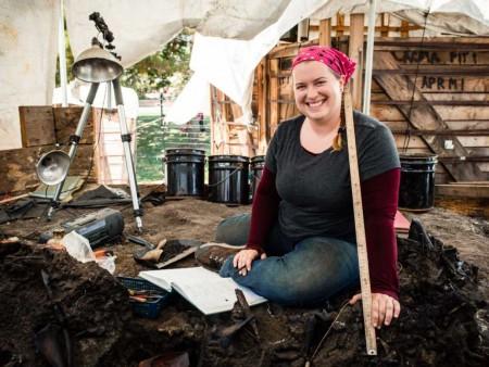 Laura Tewksbury in a tarpit