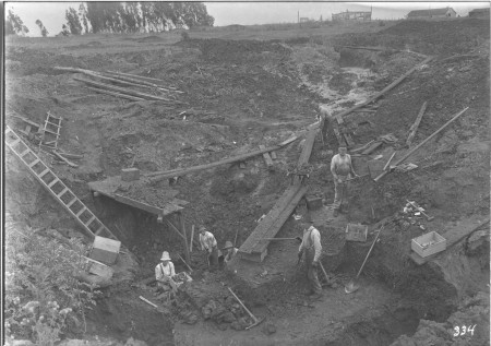 archival image of excavations at la brea tar pits