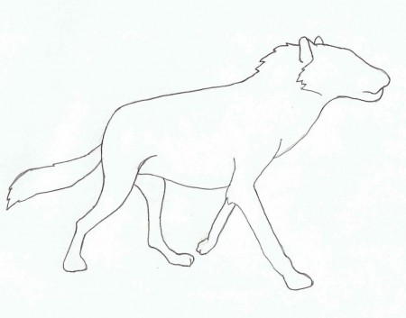 Outline of dire wolf in profile