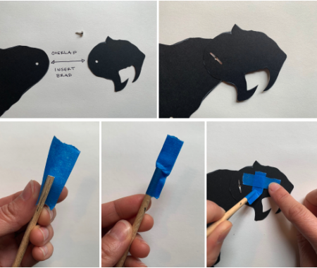 5 squares with image of how to assemble shadow puppet pieces