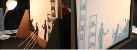 Side by side images of behind the screen of shadow theater and the resulting shadow figures on the right