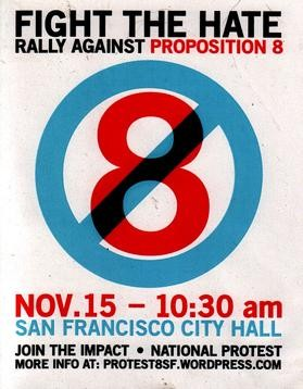 Poster advertising a November 15, 2008 protest against Proposition 8 in San Francisco.